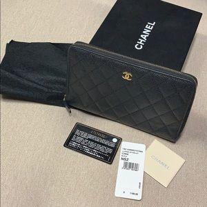 Authentic Chanel Black Caviar large zip wallet